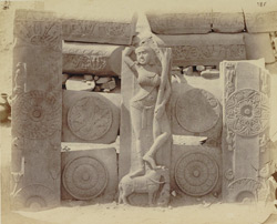 Sculpture pieces excavated from the Stupa at Bharhut: part of south-west quadrant: railing fragments and a female figure